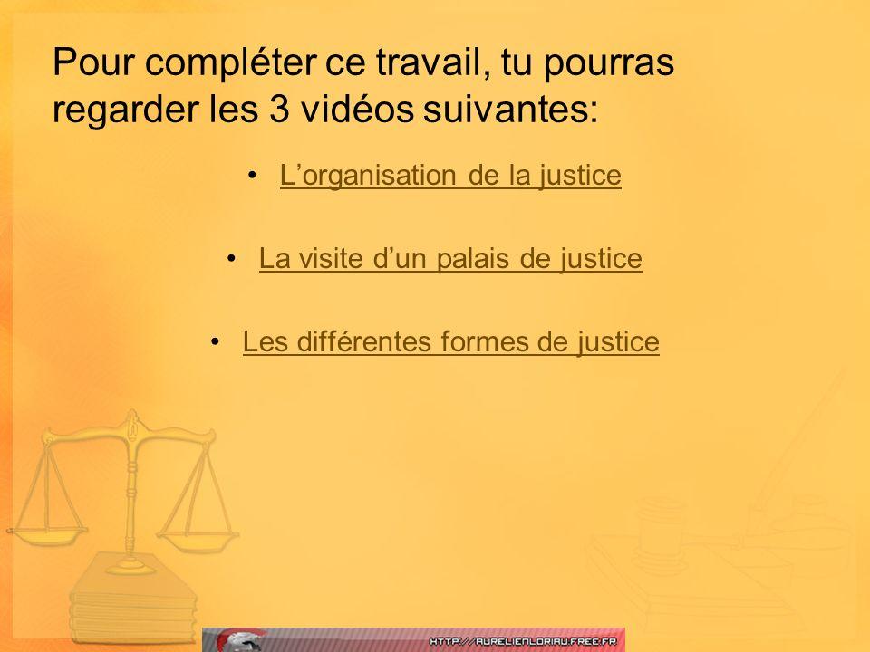 Pour compléter ce travail, tu pourras regarder les 3 vidéos suivantes: Lorganisation de la justice La visite dun palais de justice Les différentes for