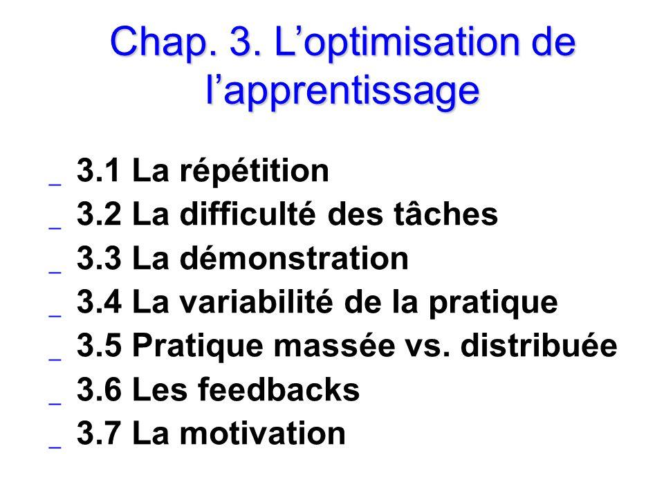 Chap. 3. Loptimisation de lapprentissage _ 3.1 La répétition _ 3.2 La difficulté des tâches _ 3.3 La démonstration _ 3.4 La variabilité de la pratique