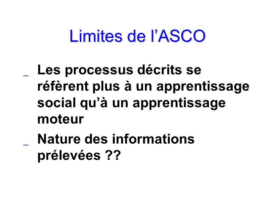 Limites de lASCO _ Les processus décrits se réfèrent plus à un apprentissage social quà un apprentissage moteur _ Nature des informations prélevées ??