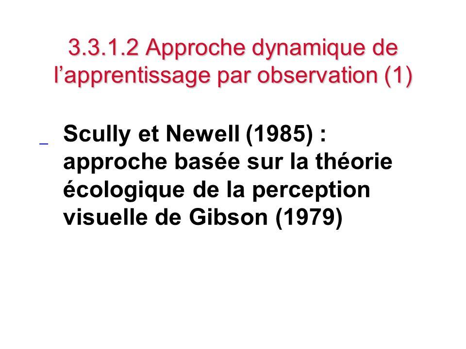 3.3.1.2 Approche dynamique de lapprentissage par observation (1) _ Scully et Newell (1985) : approche basée sur la théorie écologique de la perception