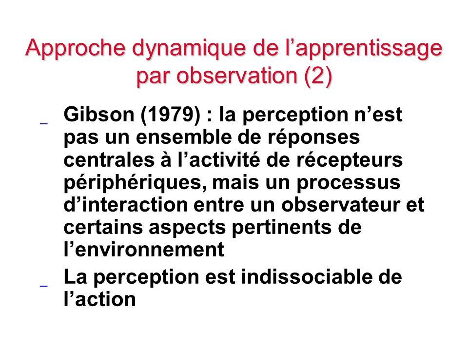 Approche dynamique de lapprentissage par observation (2) _ Gibson (1979) : la perception nest pas un ensemble de réponses centrales à lactivité de réc