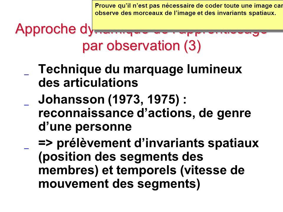 Approche dynamique de lapprentissage par observation (3) _ Technique du marquage lumineux des articulations _ Johansson (1973, 1975) : reconnaissance