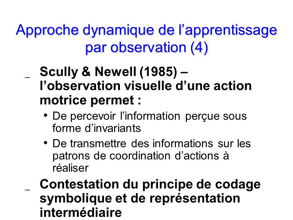 Approche dynamique de lapprentissage par observation (4) _ Scully & Newell (1985) – lobservation visuelle dune action motrice permet : De percevoir li