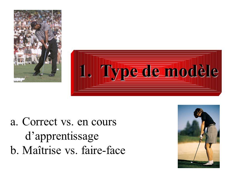 1. Type de modèle a.Correct vs. en cours dapprentissage b.Maîtrise vs. faire-face