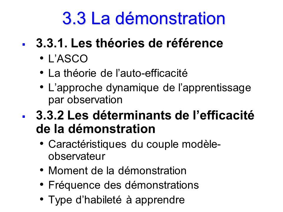 3.3 La démonstration 3.3.1. Les théories de référence LASCO La théorie de lauto-efficacité Lapproche dynamique de lapprentissage par observation 3.3.2