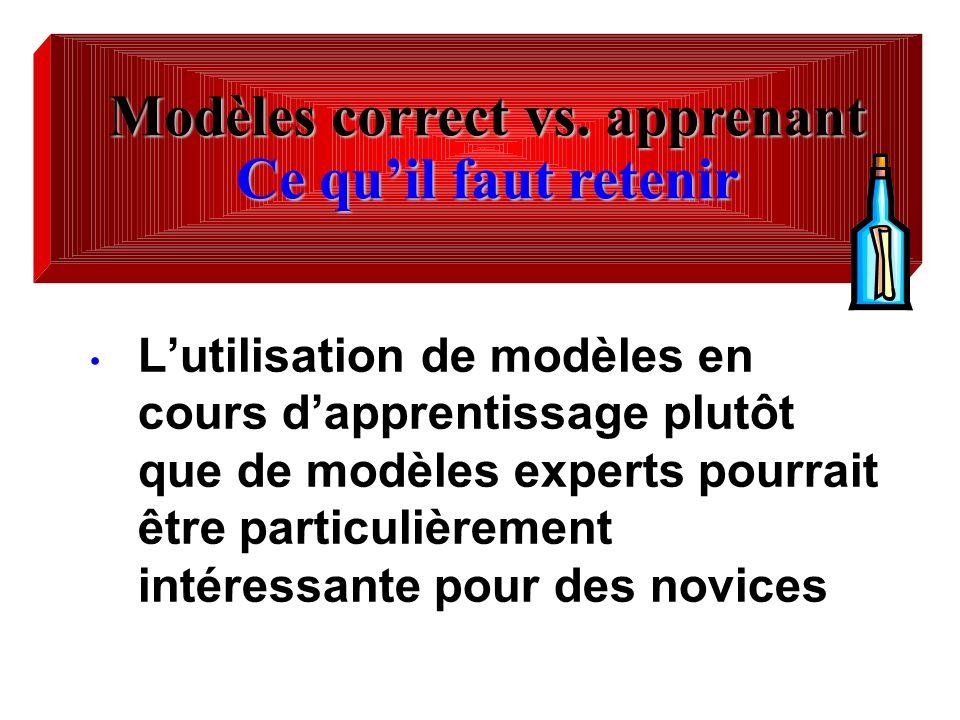 Lutilisation de modèles en cours dapprentissage plutôt que de modèles experts pourrait être particulièrement intéressante pour des novices Modèles cor