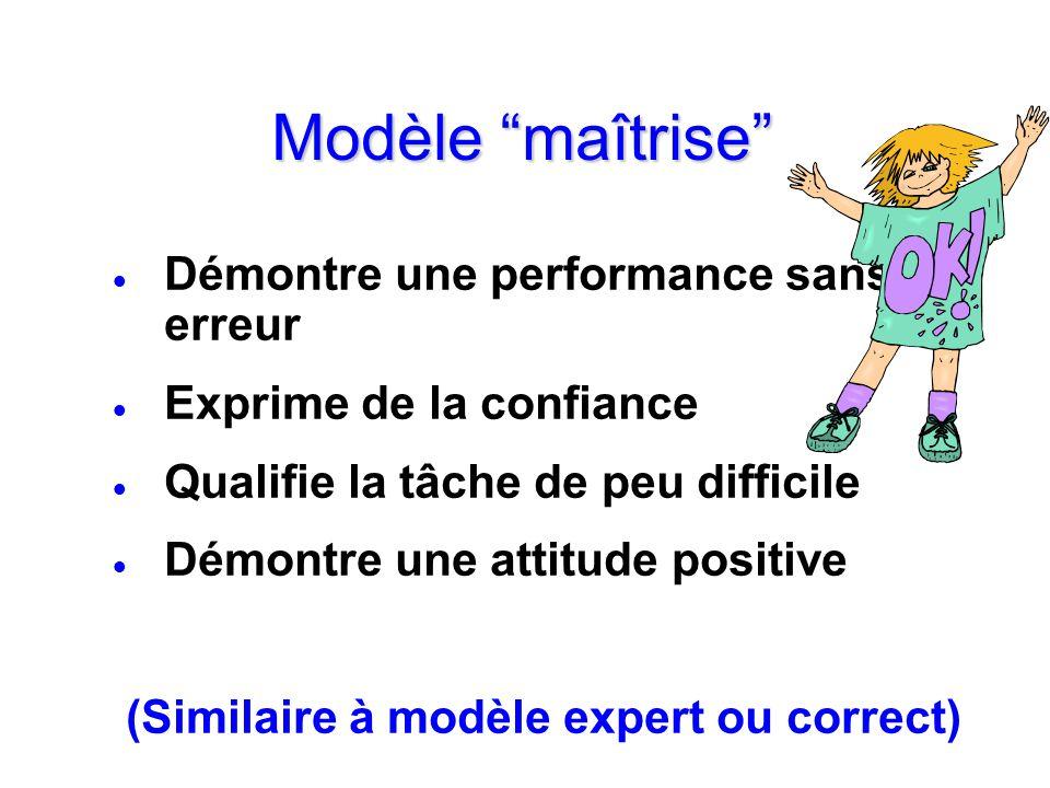 Modèle maîtrise Démontre une performance sans erreur Exprime de la confiance Qualifie la tâche de peu difficile Démontre une attitude positive (Simila