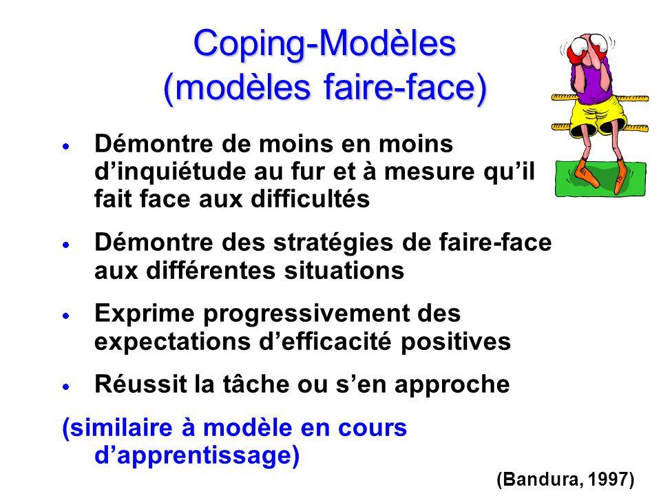 Coping-Modèles (modèles faire-face) Démontre de moins en moins dinquiétude au fur et à mesure quil fait face aux difficultés Démontre des stratégies d