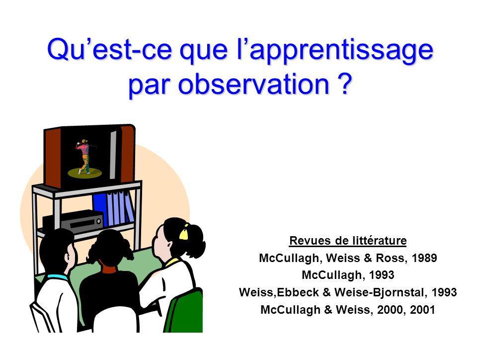 Quest-ce que lapprentissage par observation ? Revues de littérature McCullagh, Weiss & Ross, 1989 McCullagh, 1993 Weiss,Ebbeck & Weise-Bjornstal, 1993