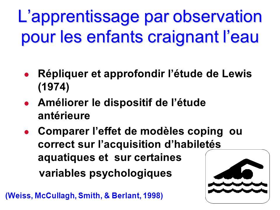 Lapprentissage par observation pour les enfants craignant leau l Répliquer et approfondir létude de Lewis (1974) l Améliorer le dispositif de létude a