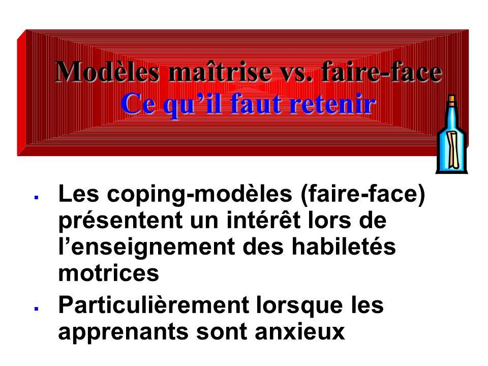 Les coping-modèles (faire-face) présentent un intérêt lors de lenseignement des habiletés motrices Particulièrement lorsque les apprenants sont anxieu