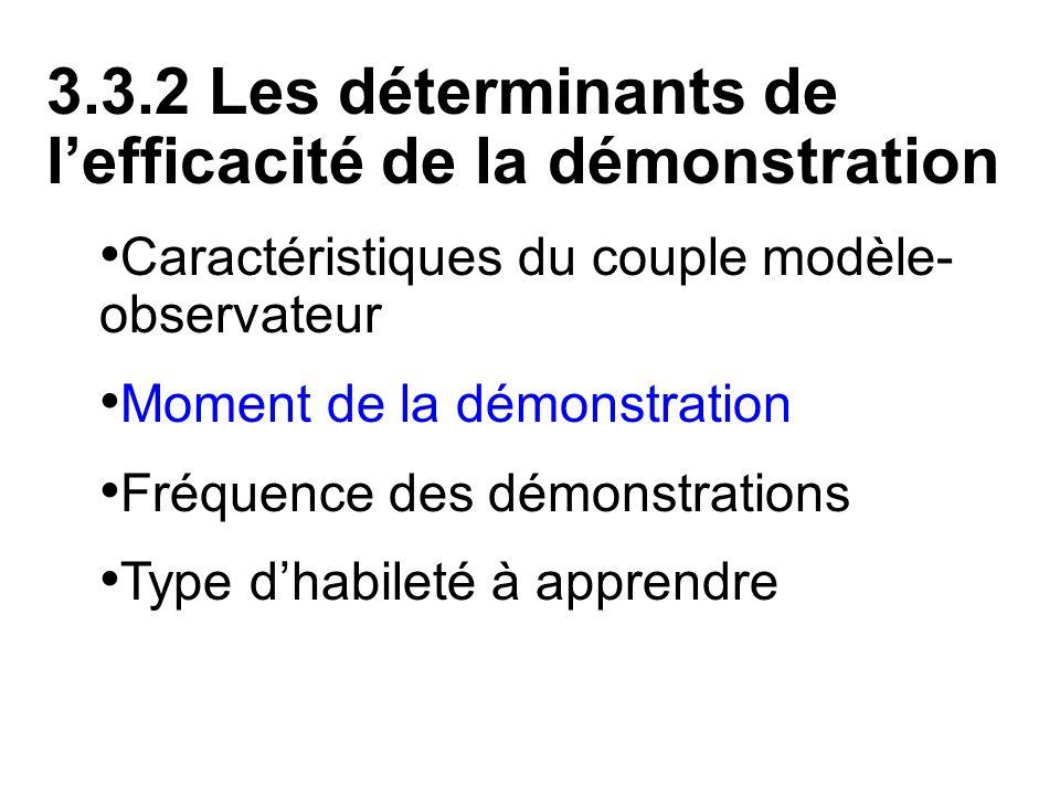 3.3.2 Les déterminants de lefficacité de la démonstration Caractéristiques du couple modèle- observateur Moment de la démonstration Fréquence des démo