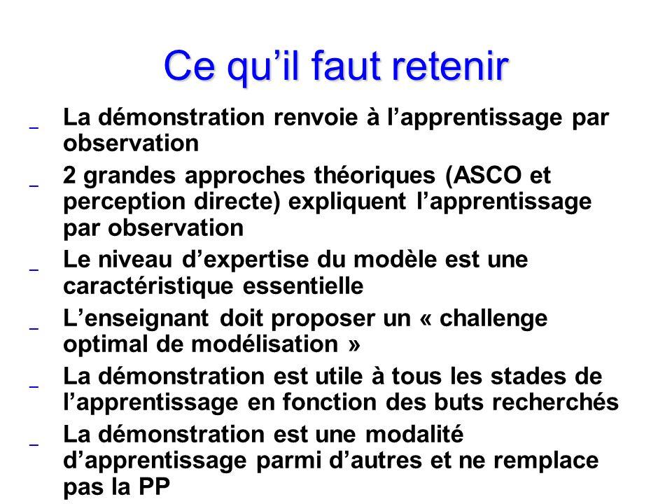 Ce quil faut retenir _ La démonstration renvoie à lapprentissage par observation _ 2 grandes approches théoriques (ASCO et perception directe) expliqu
