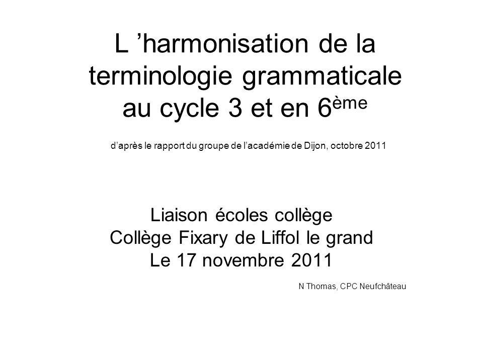L harmonisation de la terminologie grammaticale au cycle 3 et en 6 ème daprès le rapport du groupe de lacadémie de Dijon, octobre 2011 Liaison écoles