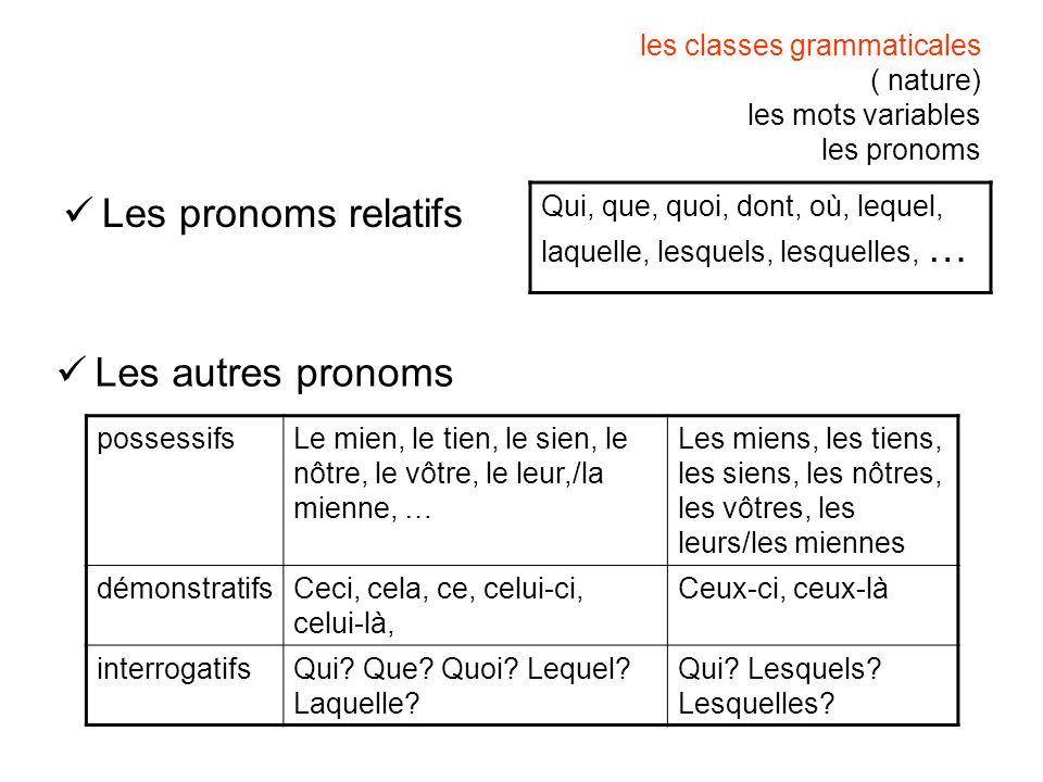 les classes grammaticales ( nature) les mots variables les pronoms Les pronoms relatifs Qui, que, quoi, dont, où, lequel, laquelle, lesquels, lesquell