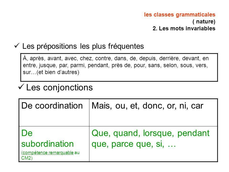 les classes grammaticales ( nature) 2. Les mots invariables Les prépositions les plus fréquentes À, après, avant, avec, chez, contre, dans, de, depuis