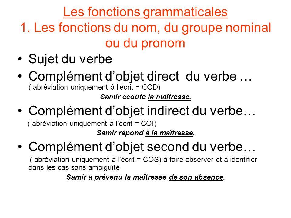 Les fonctions grammaticales 1. Les fonctions du nom, du groupe nominal ou du pronom Sujet du verbe Complément dobjet direct du verbe … ( abréviation u