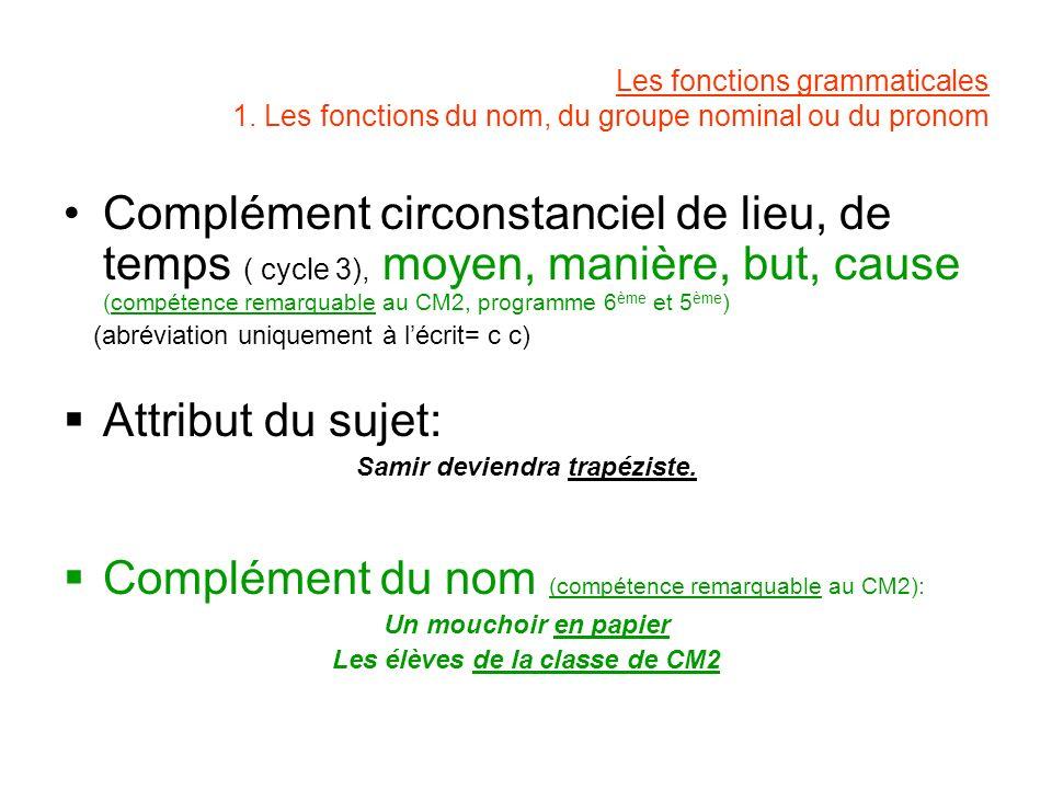 Les fonctions grammaticales 1. Les fonctions du nom, du groupe nominal ou du pronom Complément circonstanciel de lieu, de temps ( cycle 3), moyen, man