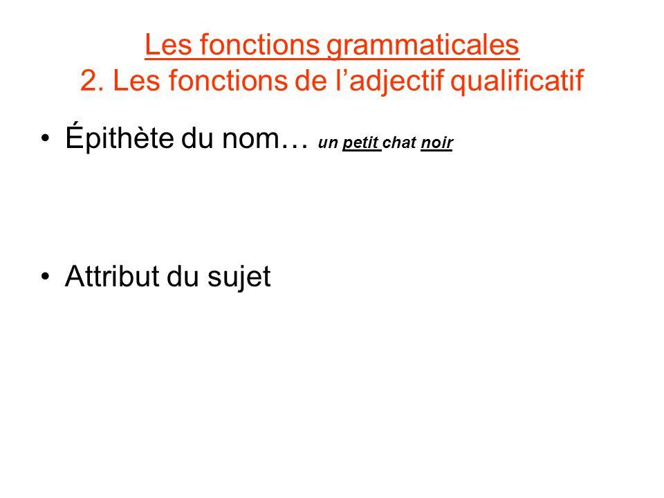 Les fonctions grammaticales 2. Les fonctions de ladjectif qualificatif Épithète du nom… un petit chat noir Attribut du sujet