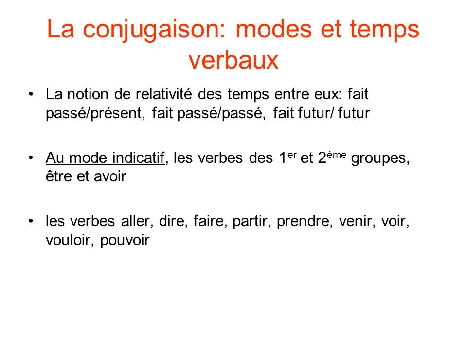 La conjugaison: modes et temps verbaux La notion de relativité des temps entre eux: fait passé/présent, fait passé/passé, fait futur/ futur Au mode in