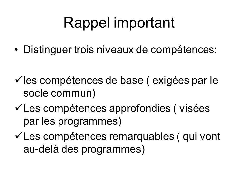 Rappel important Distinguer trois niveaux de compétences: les compétences de base ( exigées par le socle commun) Les compétences approfondies ( visées