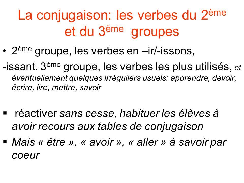 2 ème groupe, les verbes en –ir/-issons, -issant. 3 ème groupe, les verbes les plus utilisés, et éventuellement quelques irréguliers usuels: apprendre