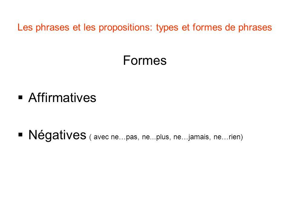 Formes Affirmatives Négatives ( avec ne…pas, ne...plus, ne…jamais, ne…rien) Les phrases et les propositions: types et formes de phrases