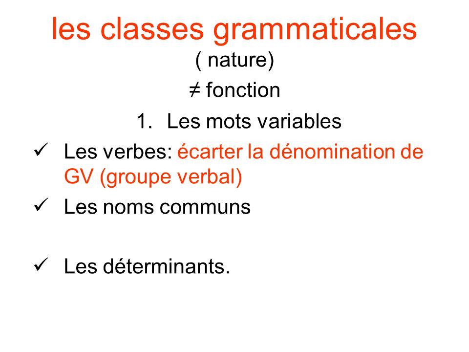 les classes grammaticales ( nature) fonction 1.Les mots variables Les verbes: écarter la dénomination de GV (groupe verbal) Les noms communs Les déter