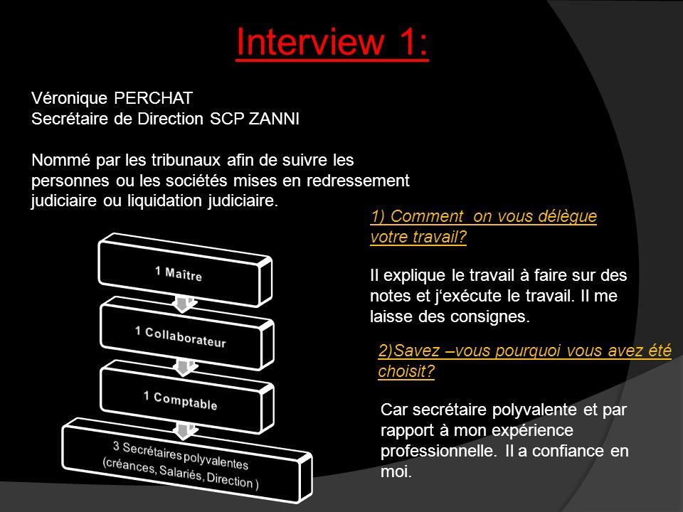 Interview 1: Véronique PERCHAT Secrétaire de Direction SCP ZANNI Nommé par les tribunaux afin de suivre les personnes ou les sociétés mises en redress