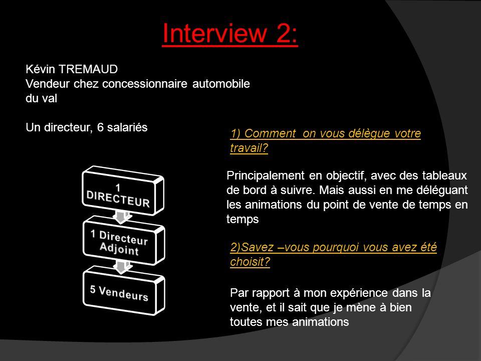 Interview 2: Kévin TREMAUD Vendeur chez concessionnaire automobile du val Un directeur, 6 salariés 1) Comment on vous délègue votre travail? 2)Savez –
