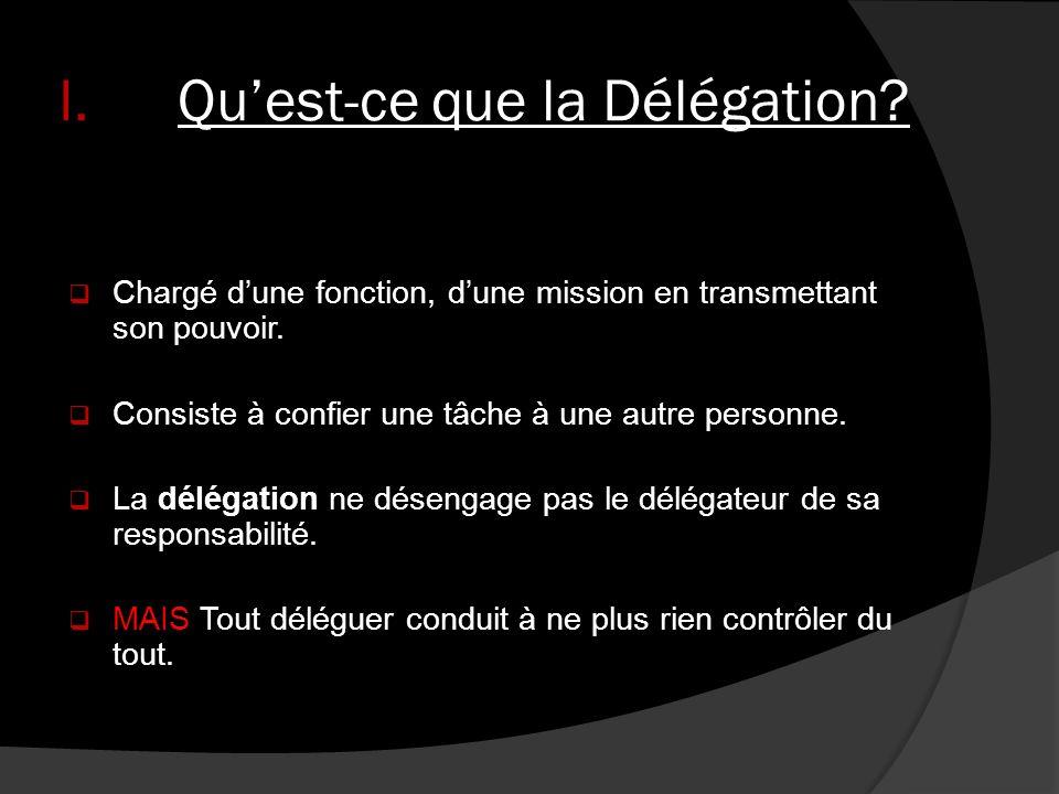 I.Quest-ce que la Délégation? Chargé dune fonction, dune mission en transmettant son pouvoir. Consiste à confier une tâche à une autre personne. La dé