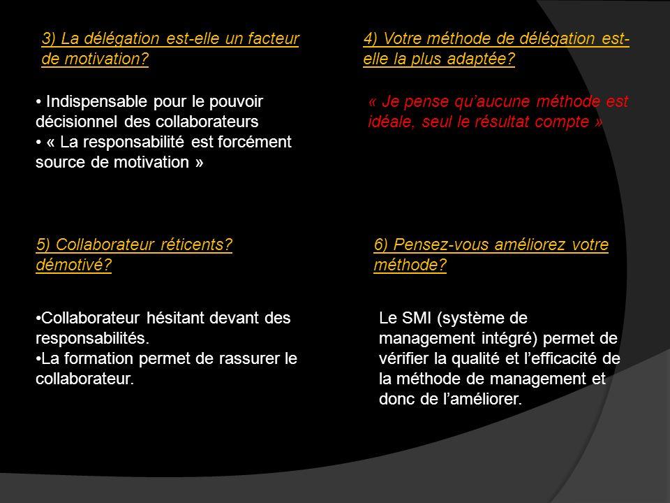 3) La délégation est-elle un facteur de motivation? Indispensable pour le pouvoir décisionnel des collaborateurs « La responsabilité est forcément sou