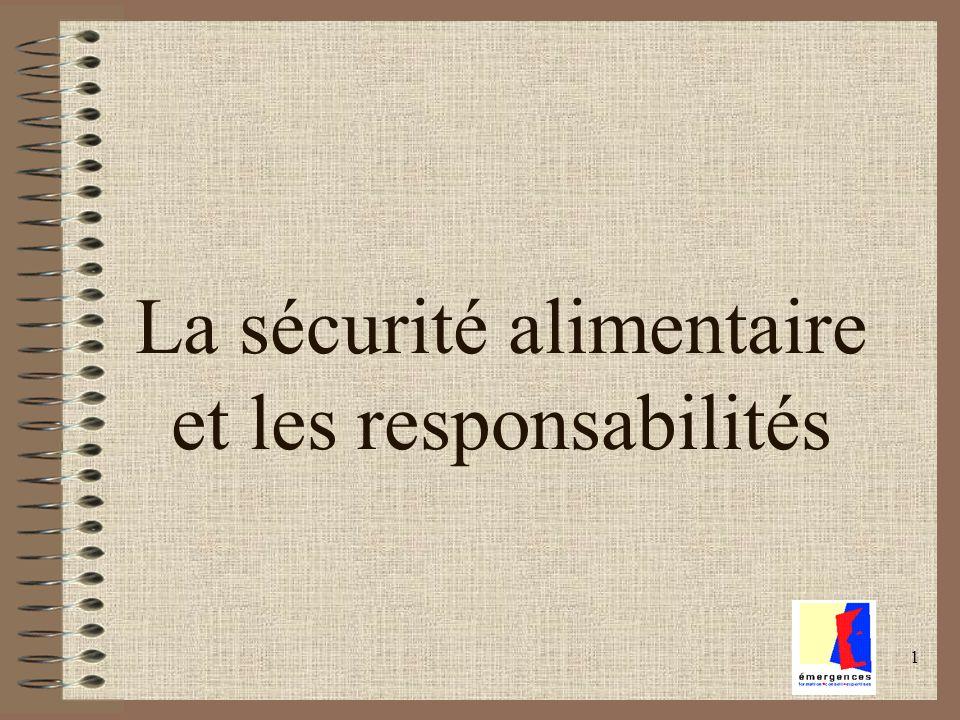 1 La sécurité alimentaire et les responsabilités