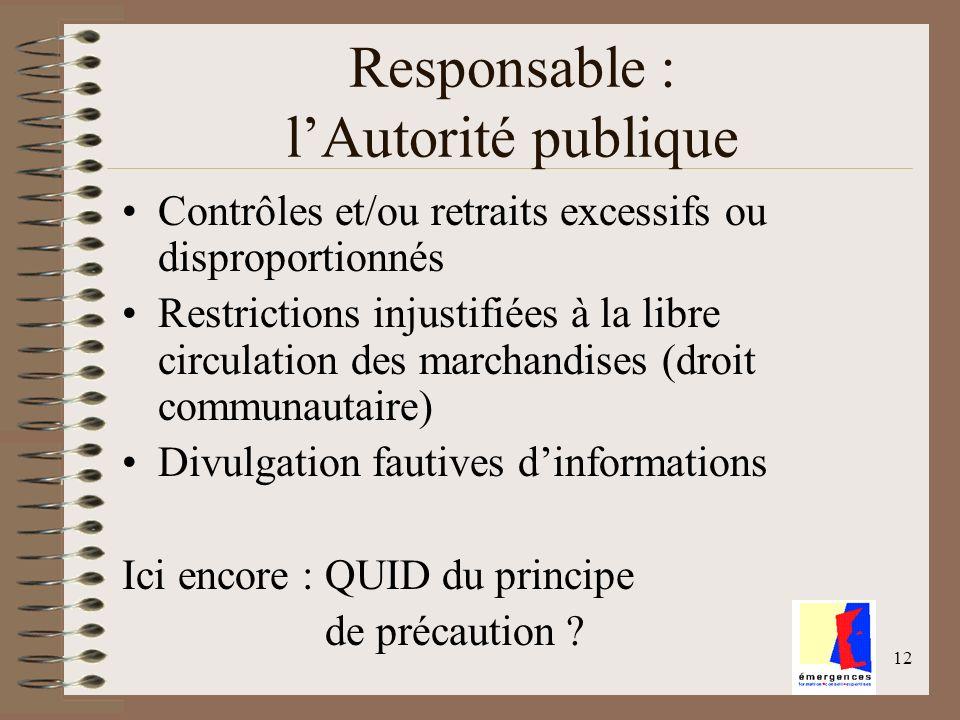 12 Responsable : lAutorité publique Contrôles et/ou retraits excessifs ou disproportionnés Restrictions injustifiées à la libre circulation des marcha
