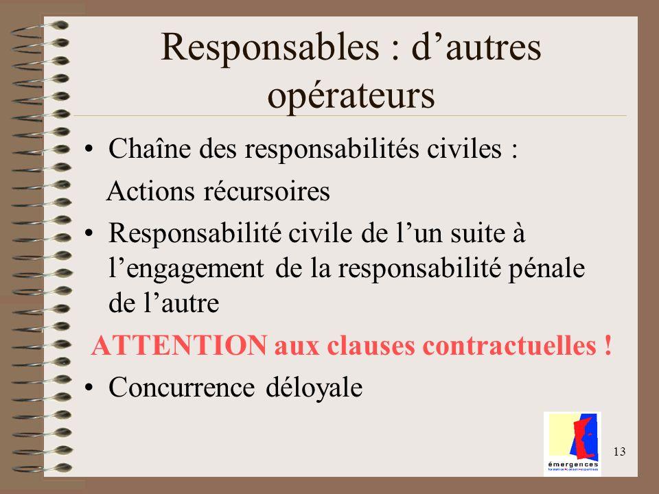 13 Responsables : dautres opérateurs Chaîne des responsabilités civiles : Actions récursoires Responsabilité civile de lun suite à lengagement de la r