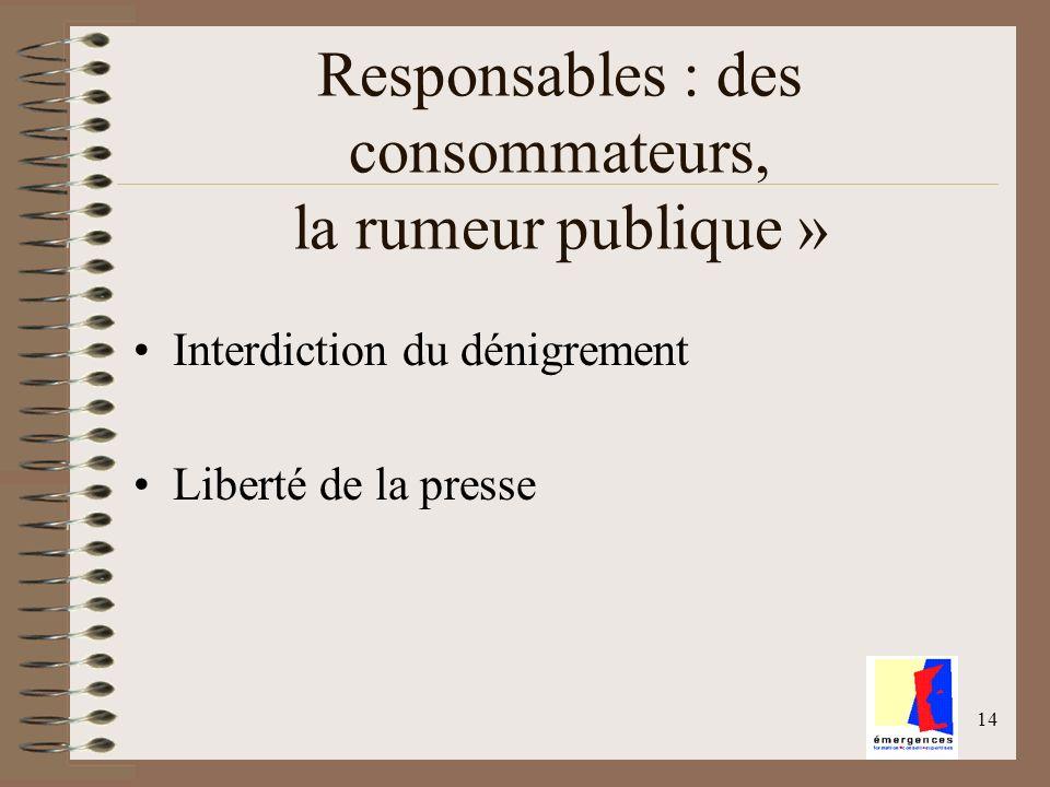 14 Responsables : des consommateurs, la rumeur publique » Interdiction du dénigrement Liberté de la presse