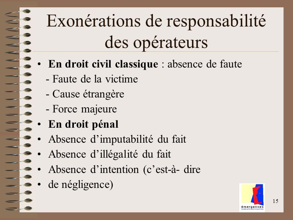 15 Exonérations de responsabilité des opérateurs En droit civil classique : absence de faute - Faute de la victime - Cause étrangère - Force majeure E