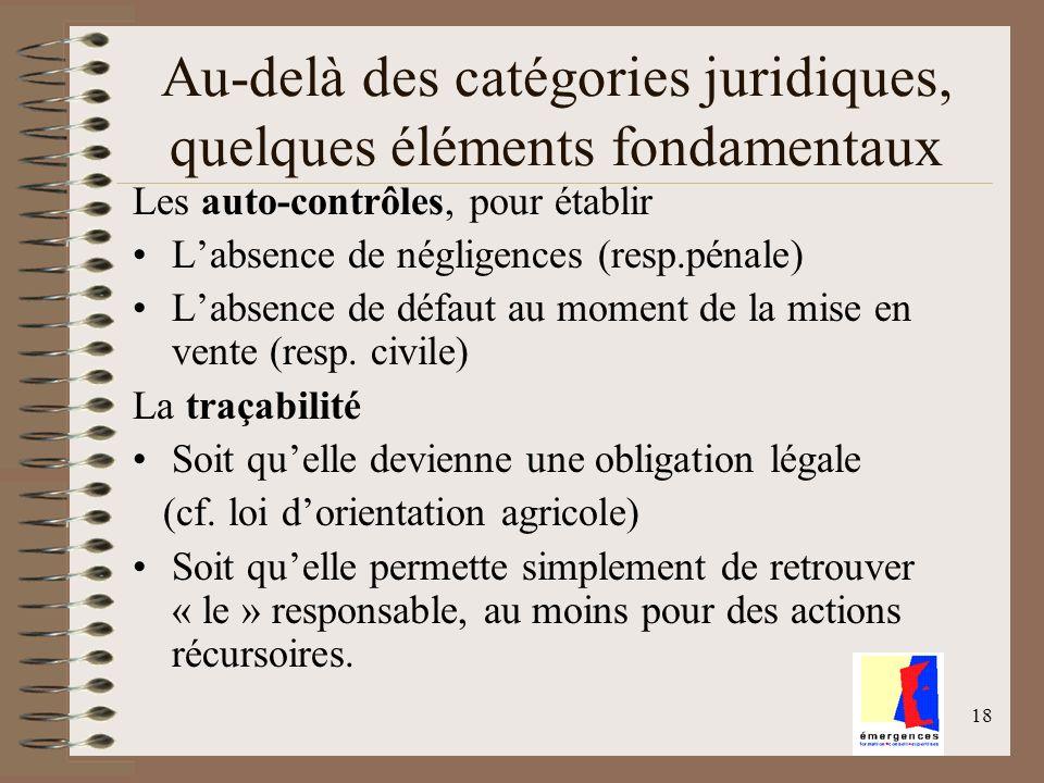 18 Au-delà des catégories juridiques, quelques éléments fondamentaux Les auto-contrôles, pour établir Labsence de négligences (resp.pénale) Labsence d