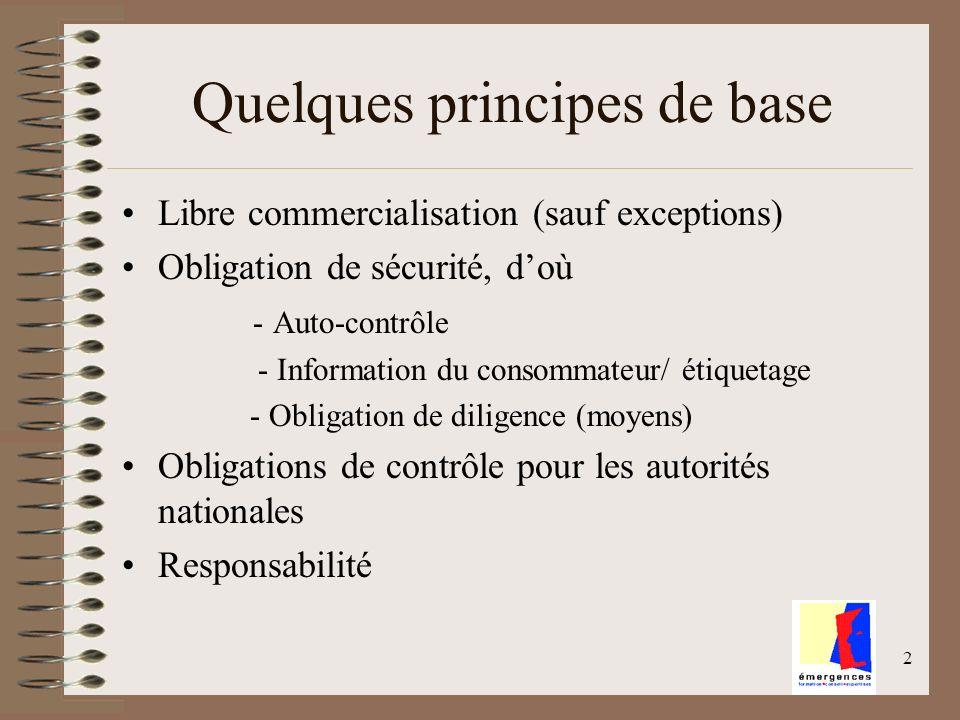 2 Quelques principes de base Libre commercialisation (sauf exceptions) Obligation de sécurité, doù - Auto-contrôle - Information du consommateur/ étiq
