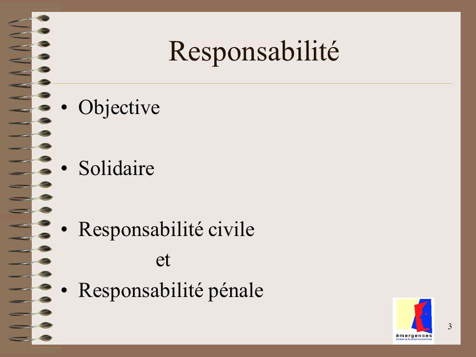 4 Qui peut être responsable de quoi et vis-à-vis de qui Trois acteurs - Le consommateur - Lopérateur économique - Lautorité publique Comment le « responsable » peut sexonérer