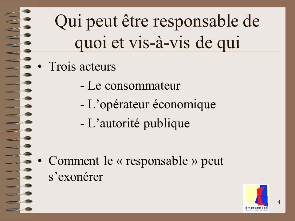 4 Qui peut être responsable de quoi et vis-à-vis de qui Trois acteurs - Le consommateur - Lopérateur économique - Lautorité publique Comment le « resp