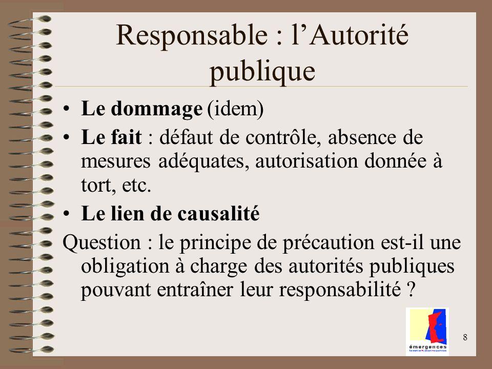 8 Responsable : lAutorité publique Le dommage (idem) Le fait : défaut de contrôle, absence de mesures adéquates, autorisation donnée à tort, etc. Le l