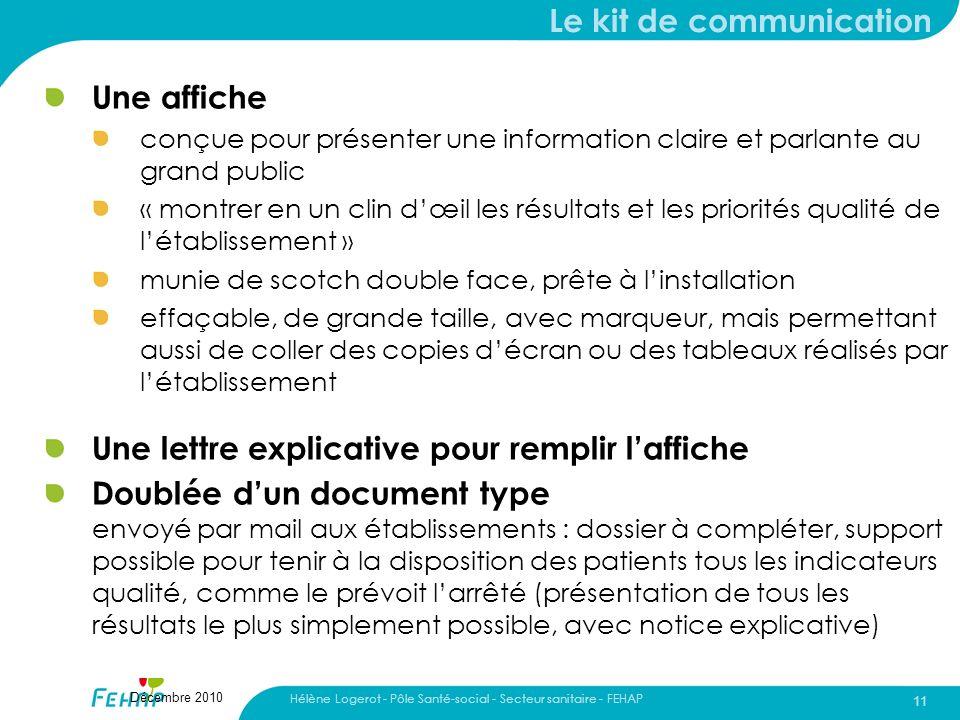 Hélène Logerot - Pôle Santé-social - Secteur sanitaire - FEHAP 11 Décembre 2010 Le kit de communication Une affiche conçue pour présenter une informat