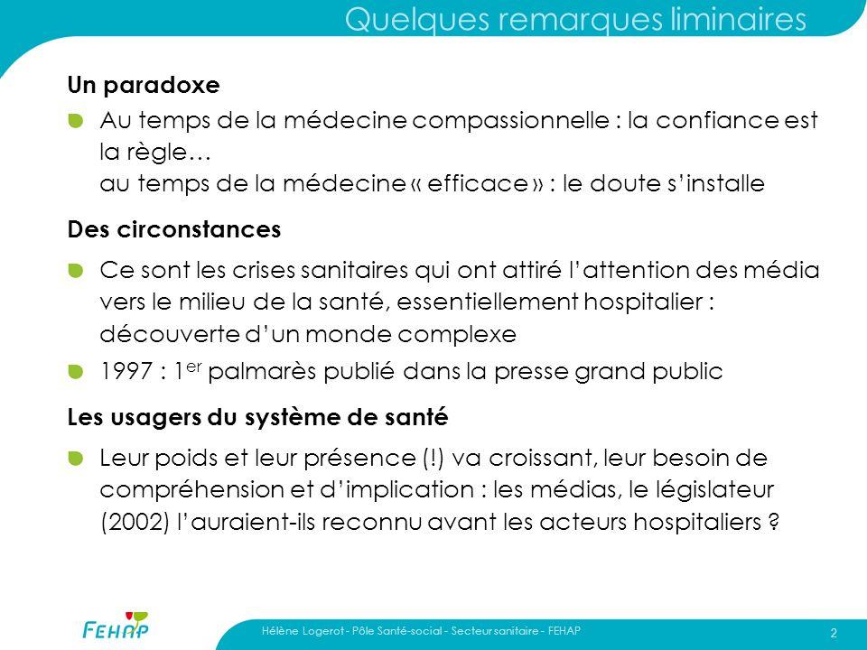 Hélène Logerot - Pôle Santé-social - Secteur sanitaire - FEHAP 2 Quelques remarques liminaires Un paradoxe Au temps de la médecine compassionnelle : l