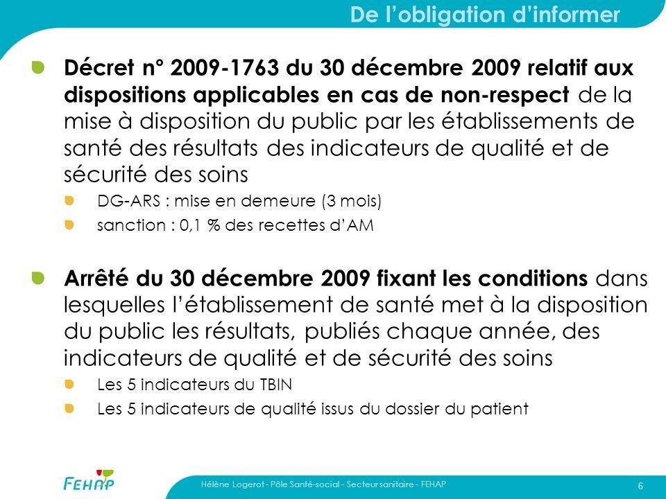 Hélène Logerot - Pôle Santé-social - Secteur sanitaire - FEHAP 6 De lobligation dinformer Décret n° 2009-1763 du 30 décembre 2009 relatif aux disposit