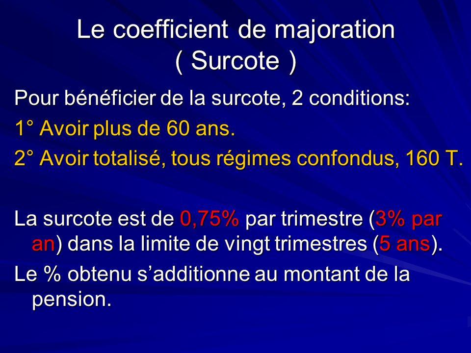 Le coefficient de majoration ( Surcote ) Pour bénéficier de la surcote, 2 conditions: 1° Avoir plus de 60 ans. 2° Avoir totalisé, tous régimes confond
