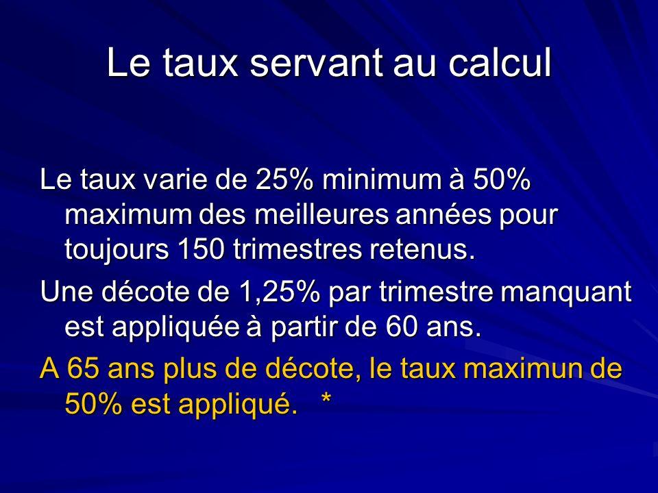 Le taux servant au calcul Le taux varie de 25% minimum à 50% maximum des meilleures années pour toujours 150 trimestres retenus. Une décote de 1,25% p