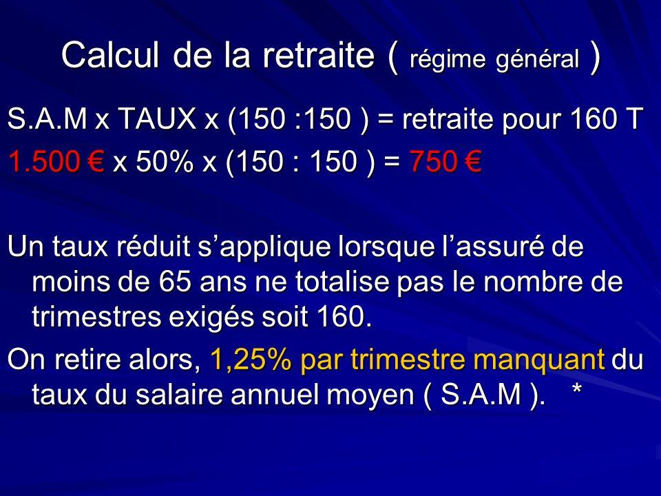 Calcul de la retraite ( régime général ) S.A.M x TAUX x (150 :150 ) = retraite pour 160 T 1.500 x 50% x (150 : 150 ) = 750 1.500 x 50% x (150 : 150 )