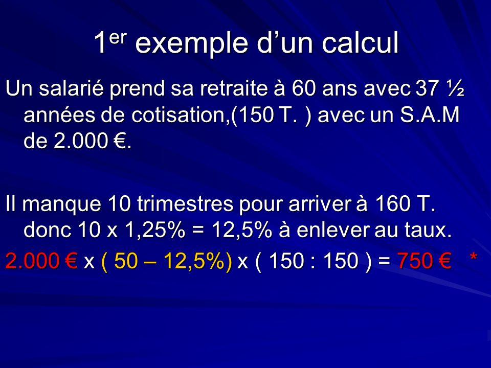 1 er exemple dun calcul Un salarié prend sa retraite à 60 ans avec 37 ½ années de cotisation,(150 T. ) avec un S.A.M de 2.000. Il manque 10 trimestres