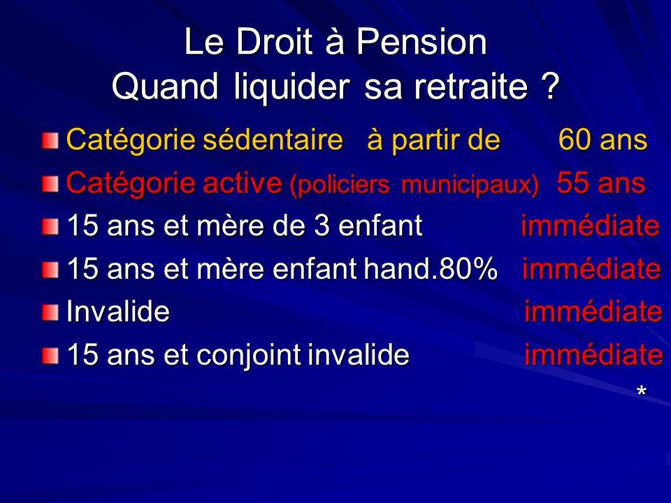 Le Droit à Pension Quand liquider sa retraite ? Catégorie sédentaire à partir de 60 ans Catégorie active (policiers municipaux) 55 ans 15 ans et mère